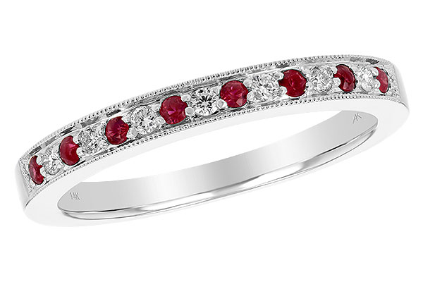 L229-78570: LDS RUBY/DIA WED RG .12 RUBY .21 TGW